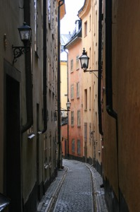 {de}Enge Gasse in Stockholm{en}Narrow alleyway at Stockholm